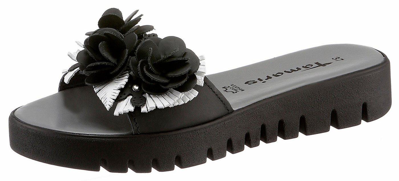 Tamaris Pantolette mit Blütenapplikation | Schuhe > Clogs & Pantoletten | Schwarz | Tamaris