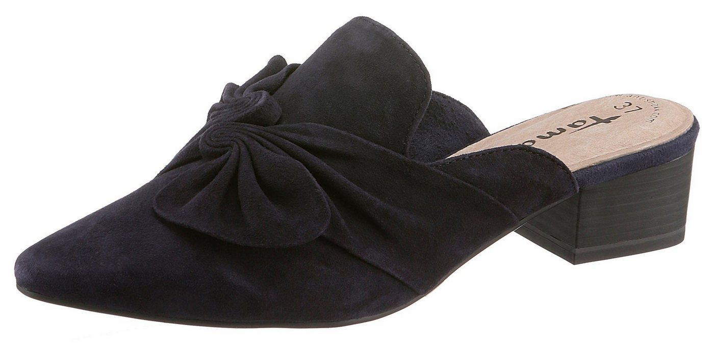 Tamaris Pantolette mit großer Zierschleife   Schuhe > Clogs & Pantoletten > Pantoletten   Blau   Tamaris