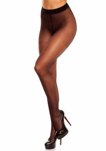 Verstärkungen Feinstrumpfhose Black Den Glamory »satin« Mit 20 Zusätzlichen doCxerBW