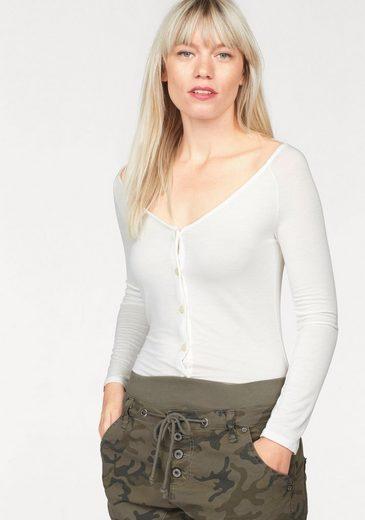 Please Jeans Langarmshirt, Buttoned Front