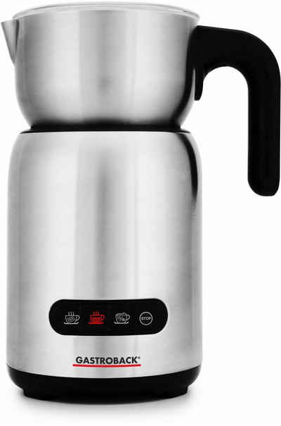 Gastroback Milchaufschäumer Design Milk & Chocolate Advanced 42359, 650 W, Cappuccino Milchschaum-Programm für festen & sahnigen Milchschaum