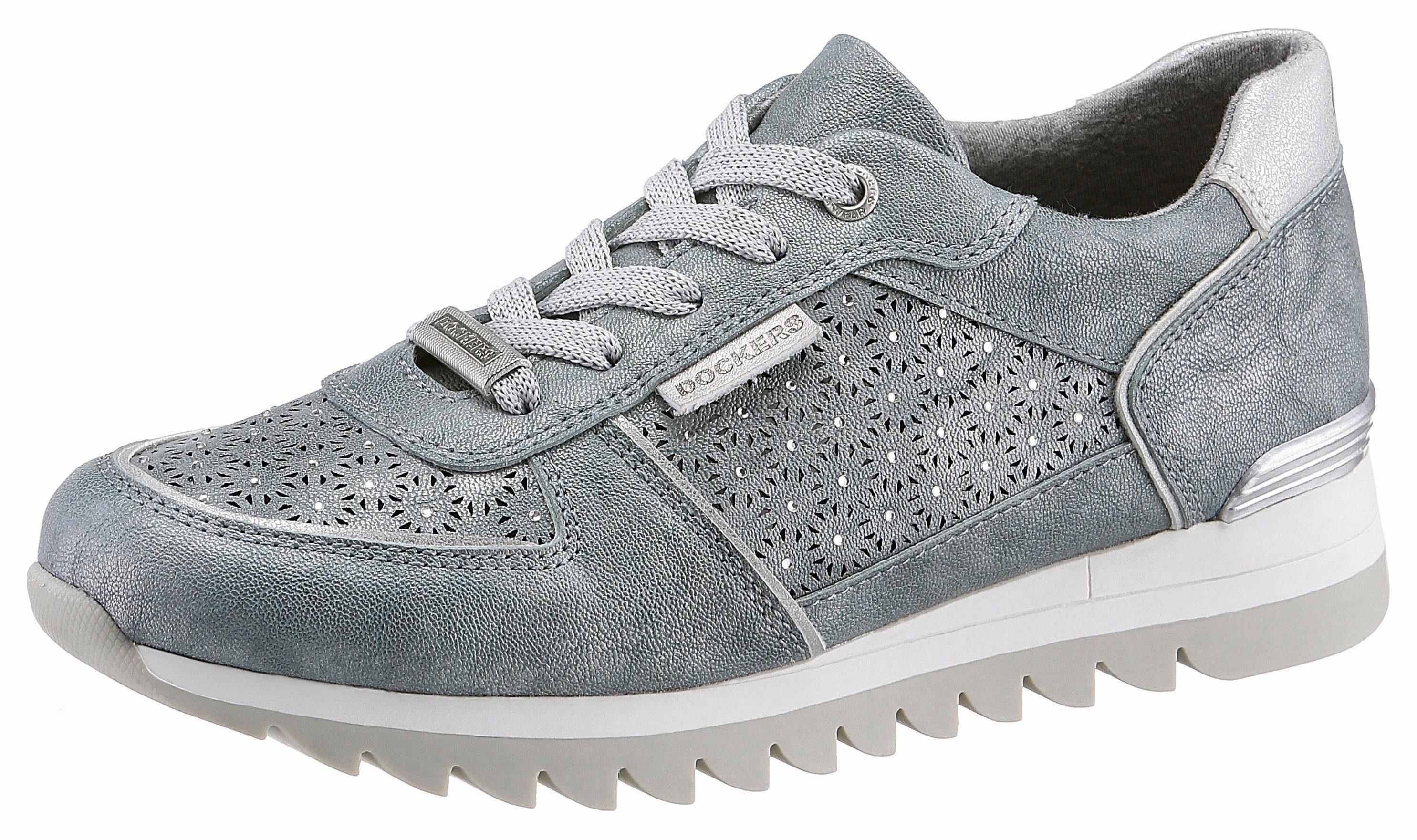 Dockers by Gerli Sneaker, mit Perforation und Glitzersteine online kaufen  blau