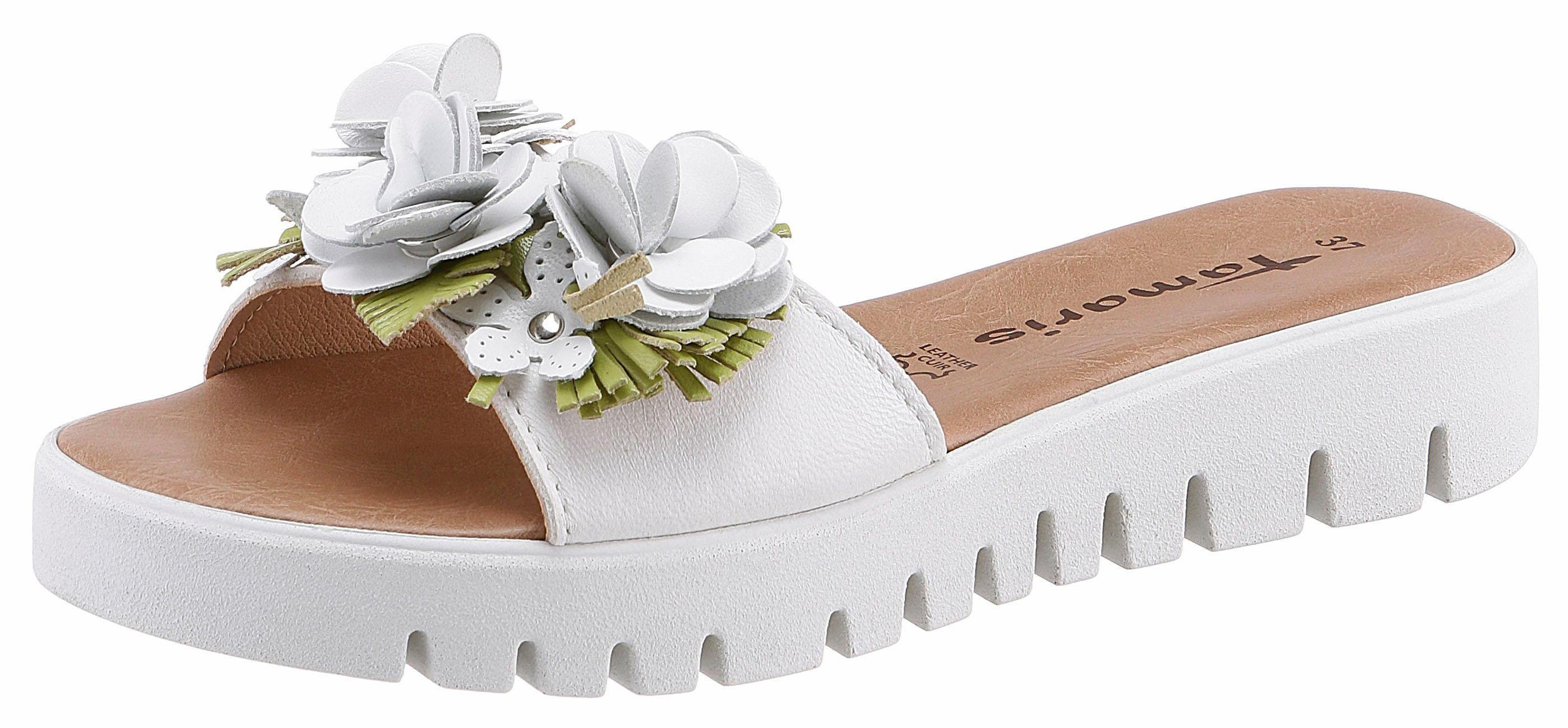 Tamaris Pantolette, mit Blütenapplikation kaufen  weiß-grün