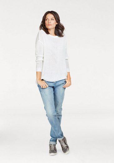 Aniston Rundhalspullover, im Vokuhila-Style