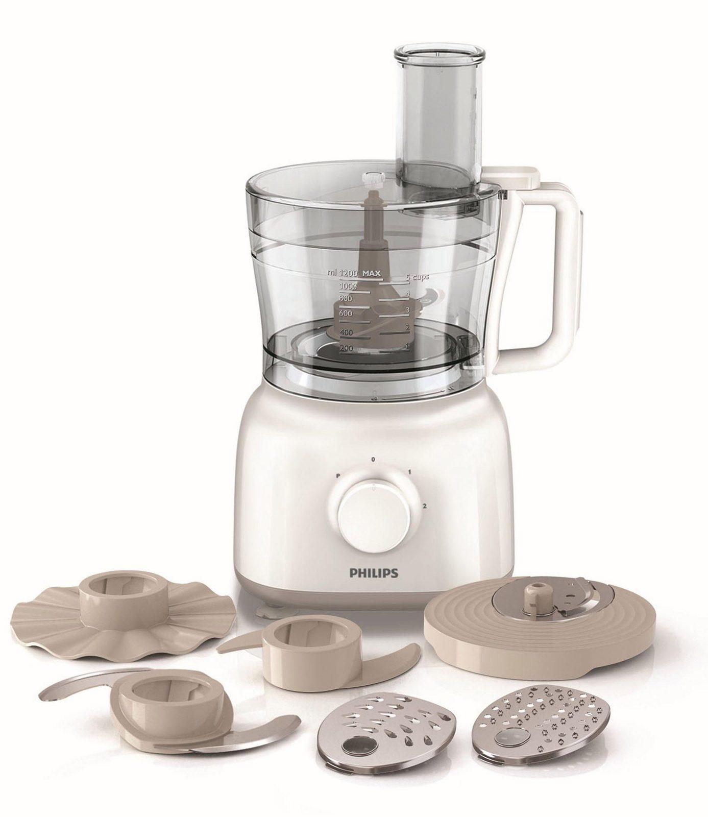 Philips Küchenmaschine HR7627/02 inkl. Knethaken, 650 Watt, 2 Geschwindigkeiten, weiß/beige - broschei