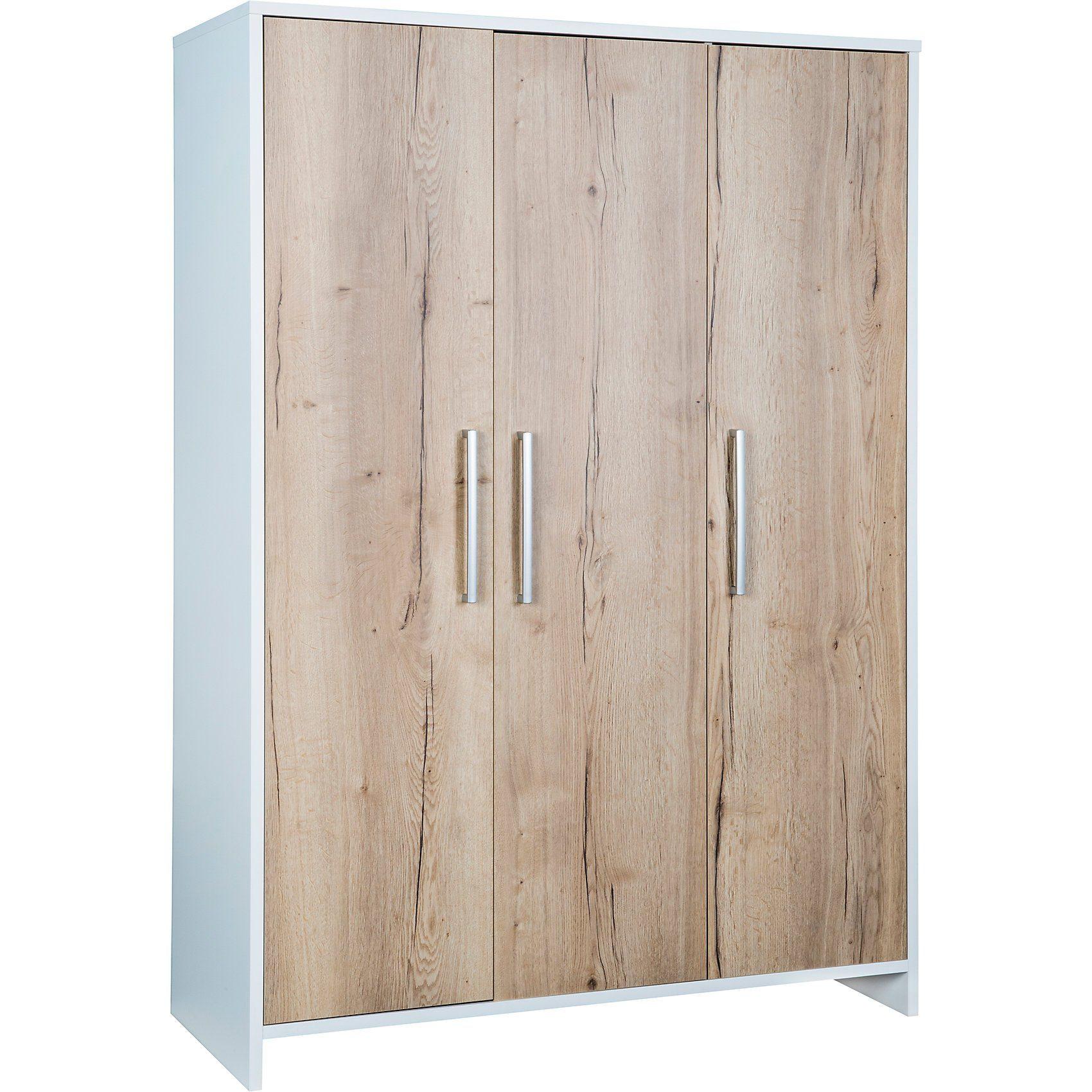 Schardt Kleiderschrank Eco Plus 3-trg., weiß/Halifax Eiche