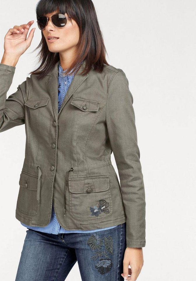 bianca Jackenblazer »Joyce« mit aufgesetzten Taschen und floraler Stickerei   Bekleidung > Blazer > Jackenblazer   Grün   bianca