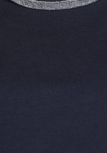STOOKER WOMEN Rundhalsshirt, Bea mit Glitzerband am Ausschnitt