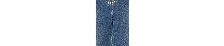 Rabe Sweatkleid, in Jeansoptik mit Schmucksteinen und Trompetenärmeln