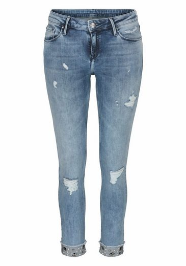 Jeans Stretch Cross Jeans®, Aspect Vintage-noble Avec Perles