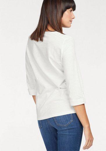 Olsen V-Shirt, aus Slubyarn, mit kleinen Nieten am Ausschnitt