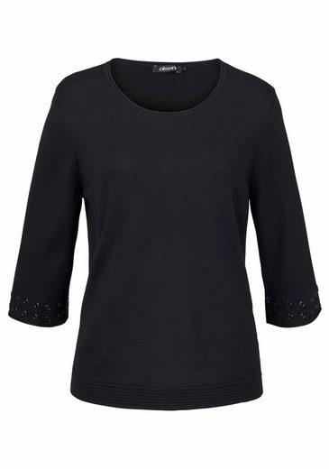 Olsen Rundhalspullover, leichter Pullover mit Strickmuster-Mix