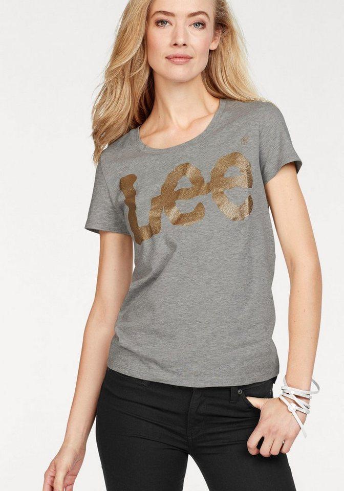 477639c12fea78 Damen Lee® T-Shirt mit großem Glitzer-Logo-Print grau