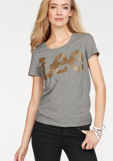Lee® T-Shirt mit großem Glitzer-Logo-Print