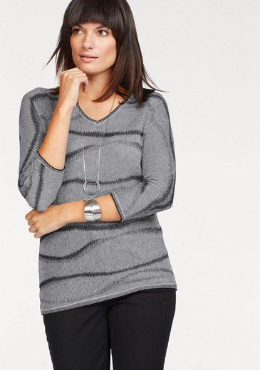 Olsen V-Ausschnitt-Pullover, mit Lurexfaden, leicht transparent