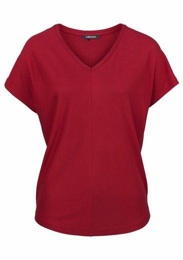 Olsen V-Shirt, mit Mittelnaht und überschnittenen Schultern