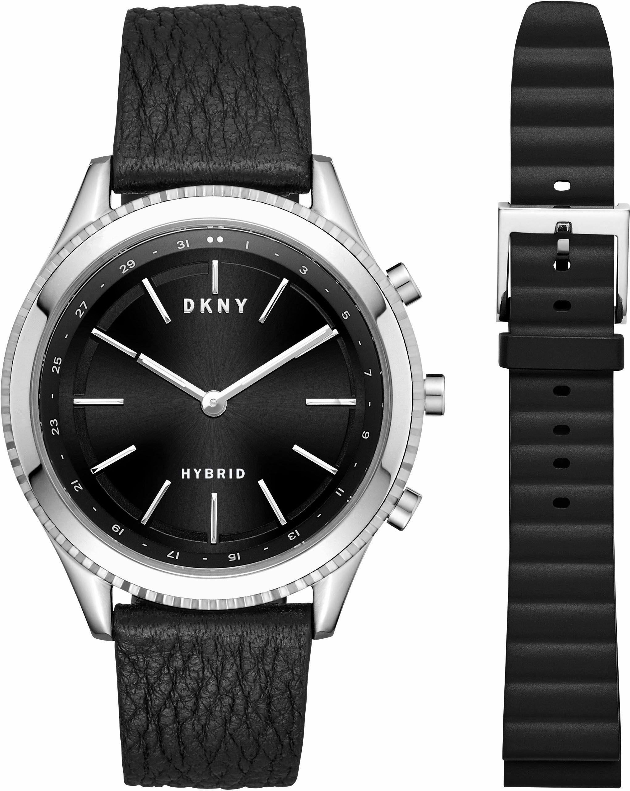 DKNY MINUTE WOODHAVEN-HYBRID, NYT6100 Smartwatch (Android Wear, mit 1 Wechselband)
