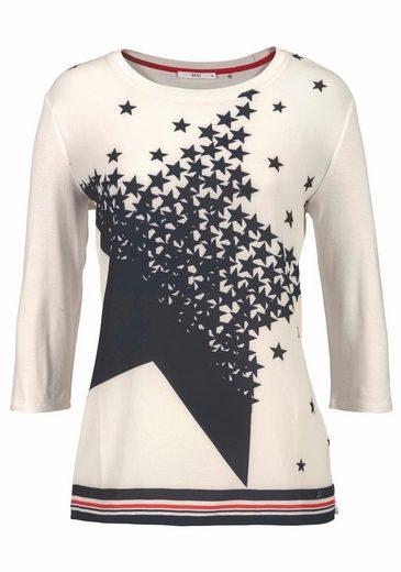 Brax Blusenshirt, Caren, Material-Mix, mit Sterne-Druck