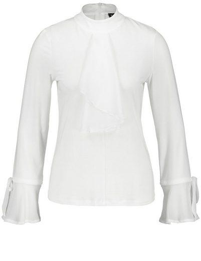 Taifun T-Shirt Langarm Rundhals Stehkragen-Shirt im Jabot-Stil