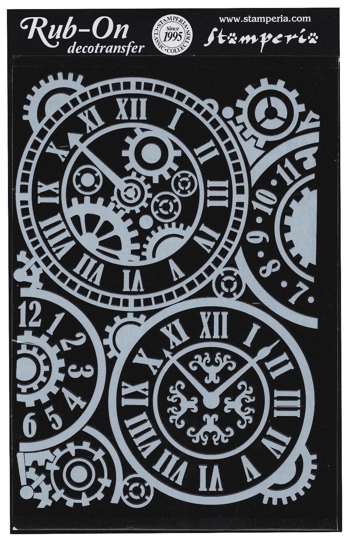 """Stamperia Decotransfers """"Uhren"""" weiß selbstklebend"""