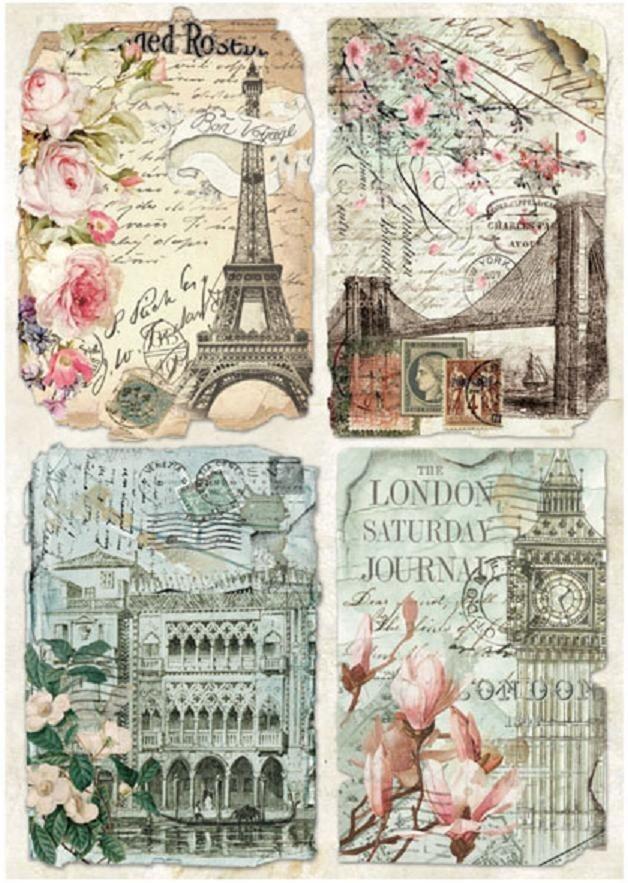 """Stamperia Motiv-Strohseide """"Städte Postkarten"""" DIN A4 online kaufen"""