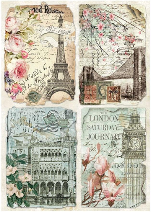 "Stamperia Motiv-Strohseide ""Städte Postkarten"" DIN A4"