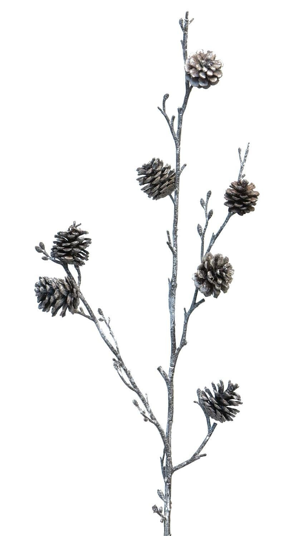 Pinien Zapfen Zweig gefrostet 79 cm Länge