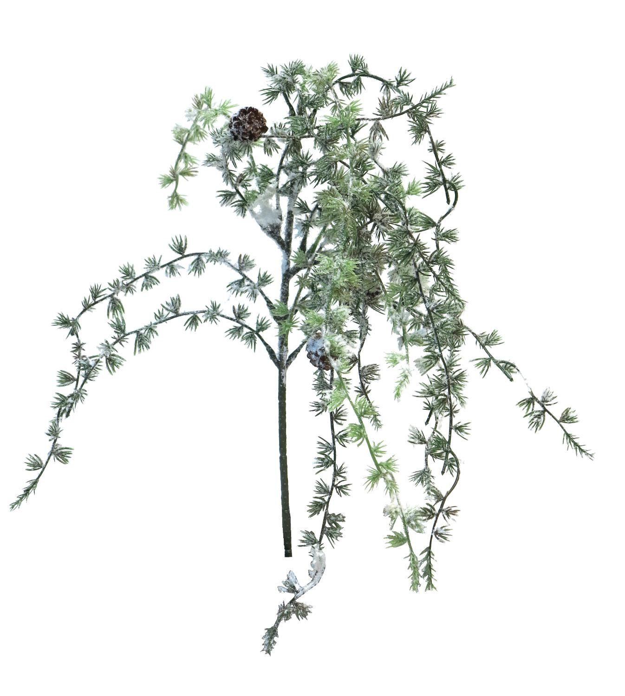 Zedern Zweig mit Zapfen beschneit 80 cm Länge