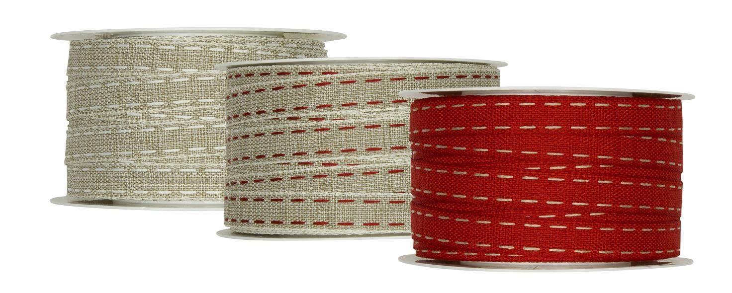 Dekorationsband mit Leinen-Steppstreifen, 3er-Set