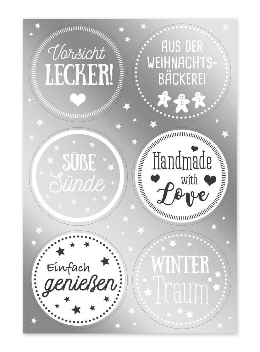 """Kekse Sticker """"Wintertraum"""" 24 Stück"""
