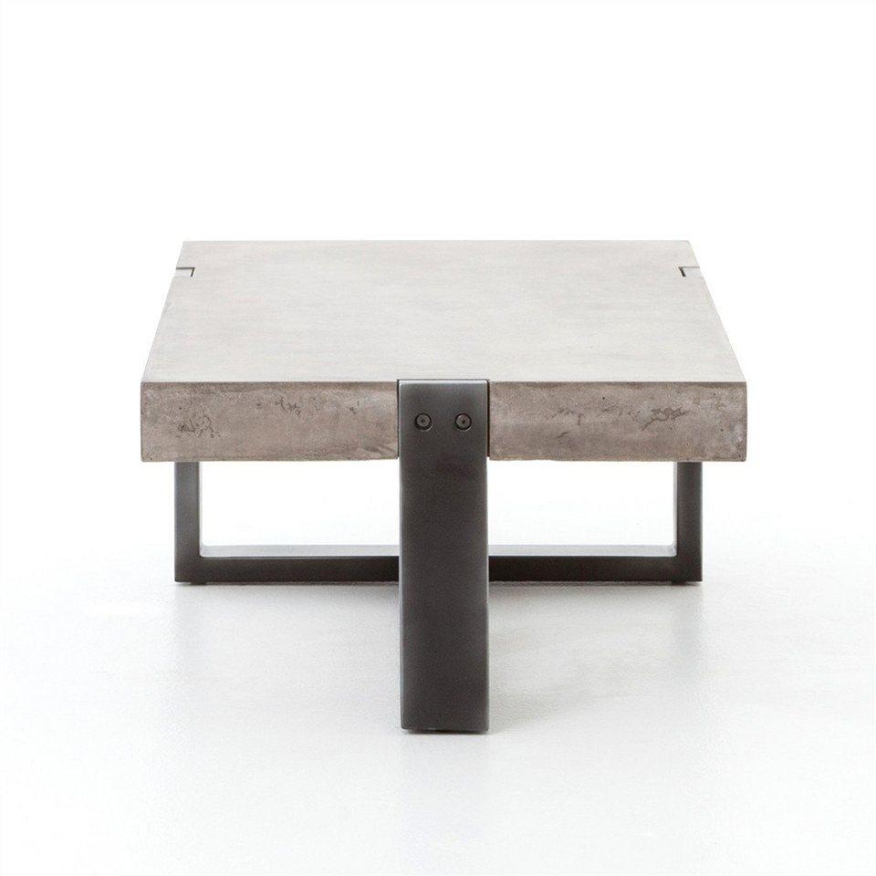 Kasper wohndesign couchtisch beton rohstahl quadratisch for Designer couchtisch beton