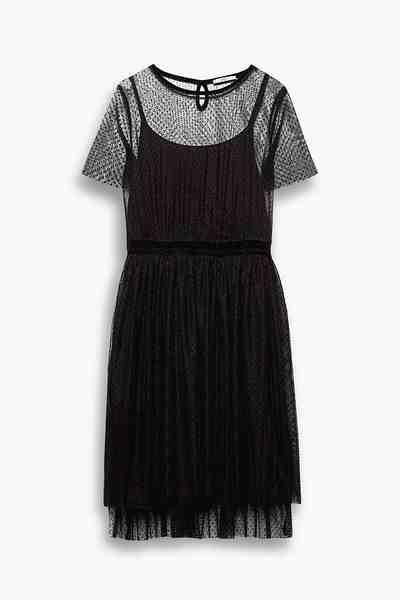 EDC Tüll-Kleid mit Tüpfchen-Dessin