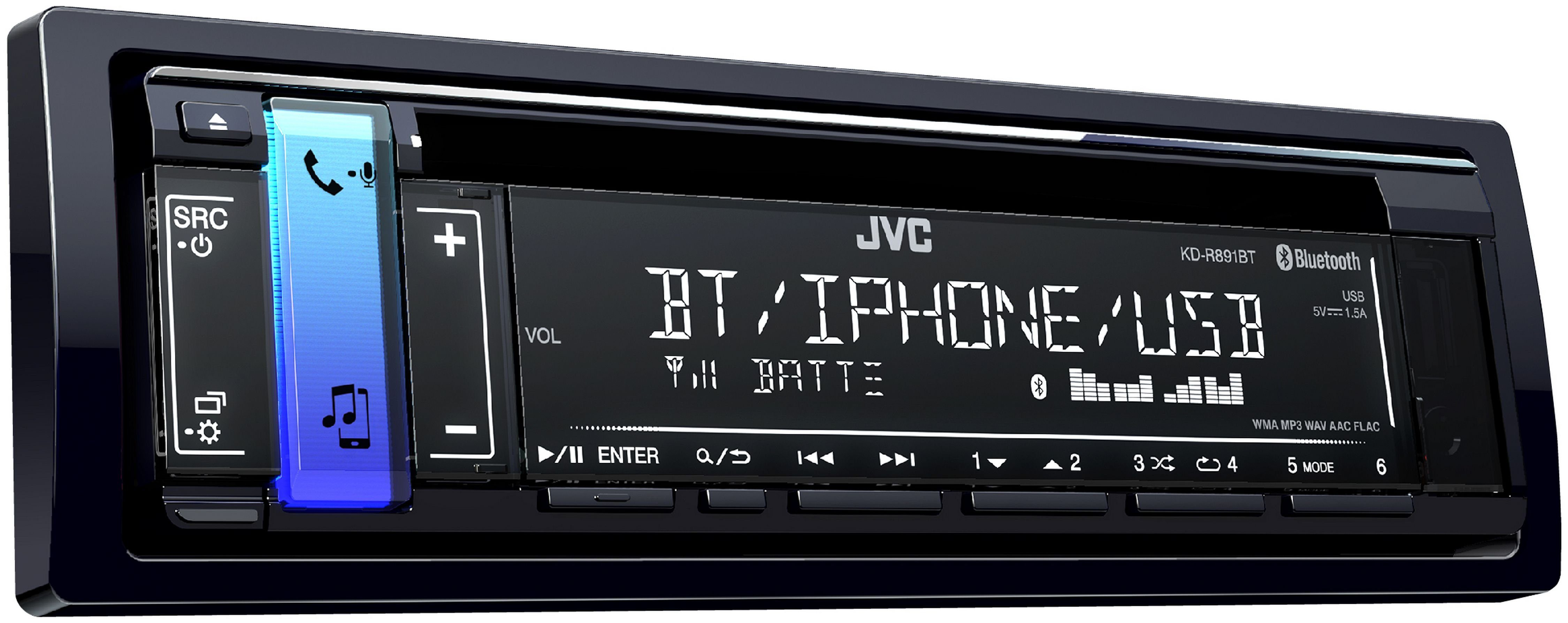 JVC 1-DIN Autoradio, Bluetooth, USB- & AUX-IN »KD-R891BT«