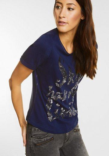 Street One Kurzarm Shirt mit Pailletten