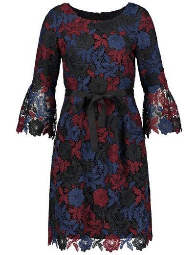 Taifun Kleid Langarm kurz Kleid aus Multicolor-Spitze