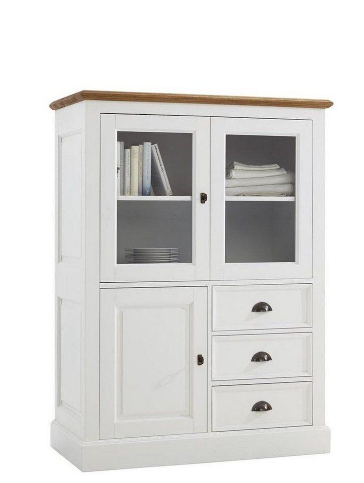 kasper wohndesign highboard wei und eiche natur ge lt. Black Bedroom Furniture Sets. Home Design Ideas