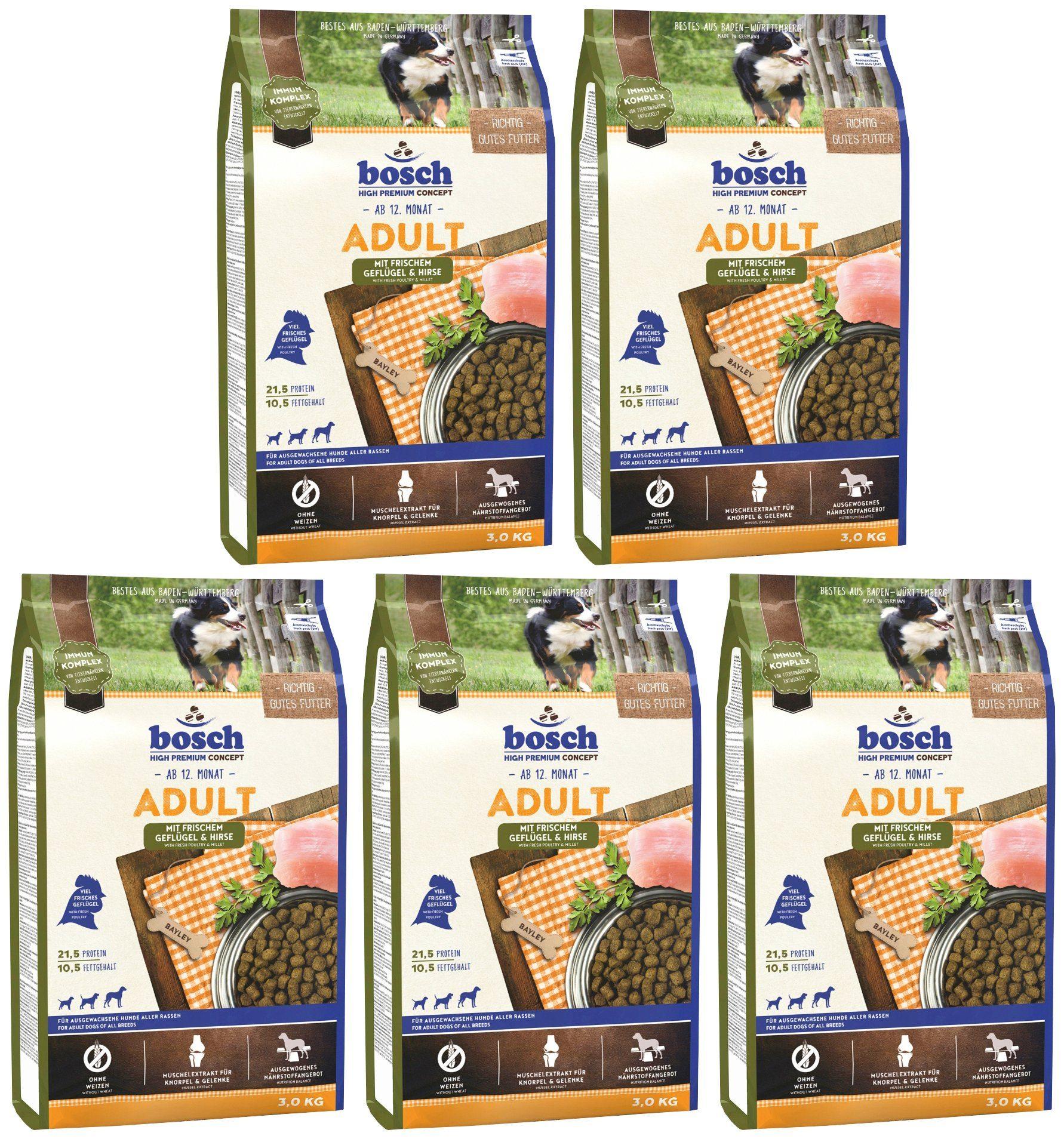BOSCH PETFOOD Hundetrockenfutter »Geflügel und Hirse«, 5 Beutel á 1 kg