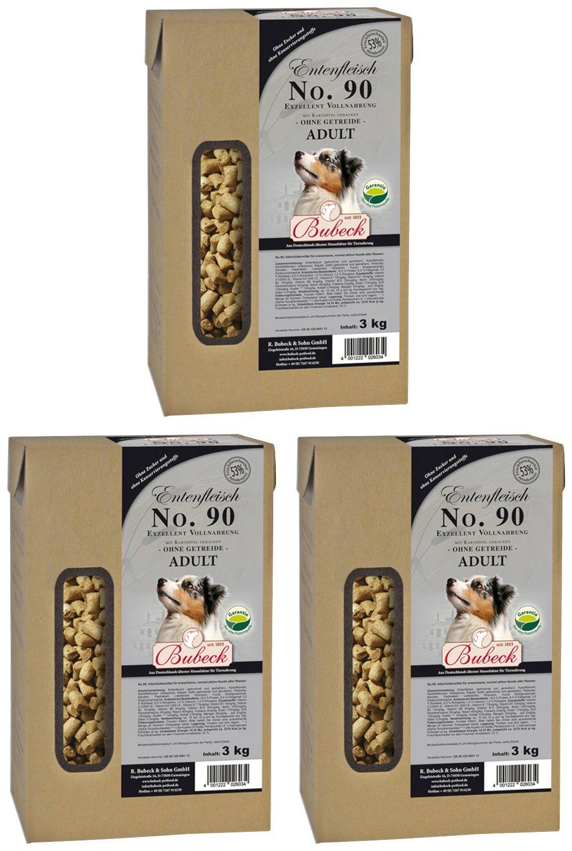 BUBECK Hundetrockenfutter »Ente und Kartoffel Mix«, 3 Beutel á 3 kg
