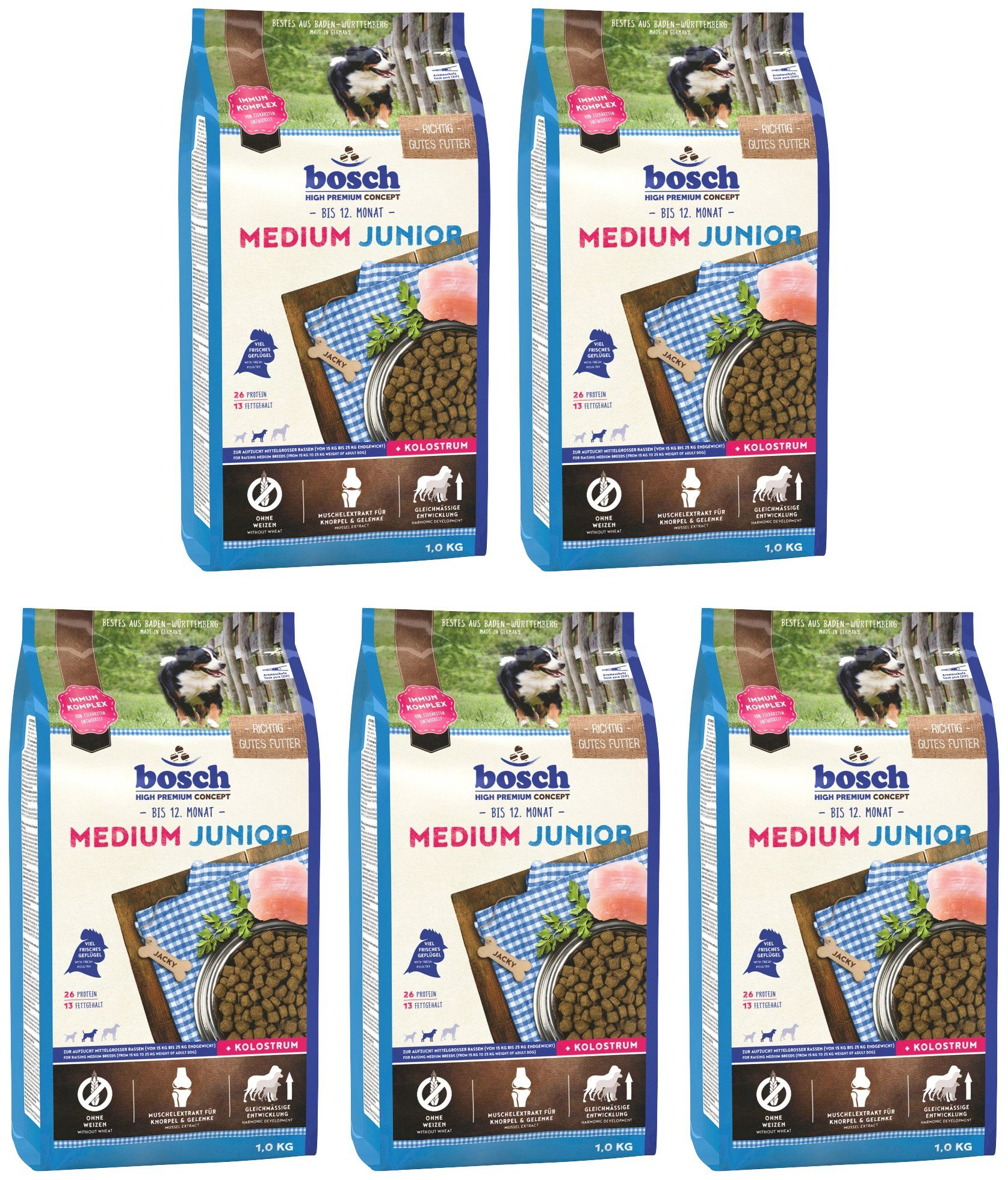 BOSCH PETFOOD Hundetrockenfutter »Medium Junior«, 5 Beutel á 1 kg