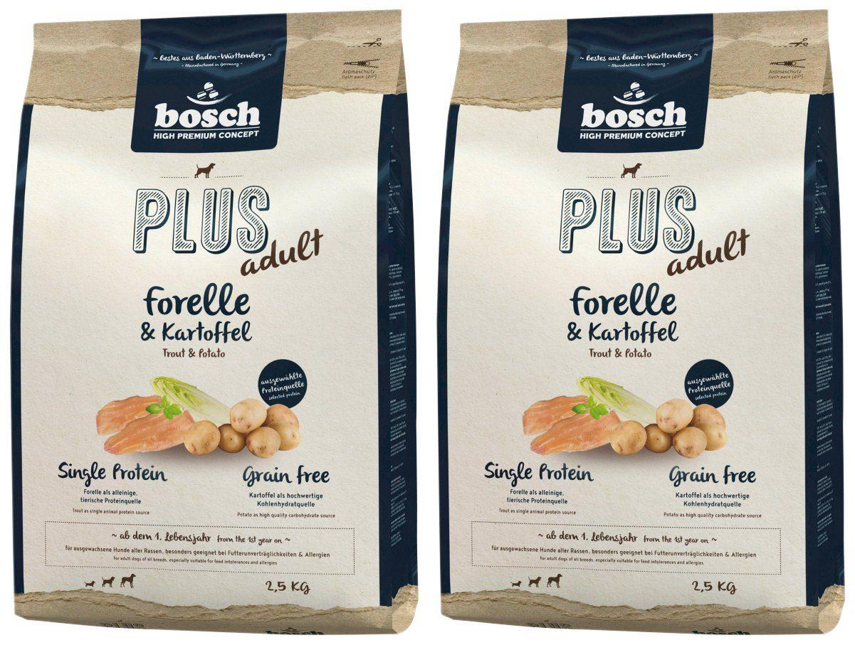 BOSCH PETFOOD Hundetrockenfutter »Plus Forelle und Kartoffel«, 2 Beutel á 2,5 kg