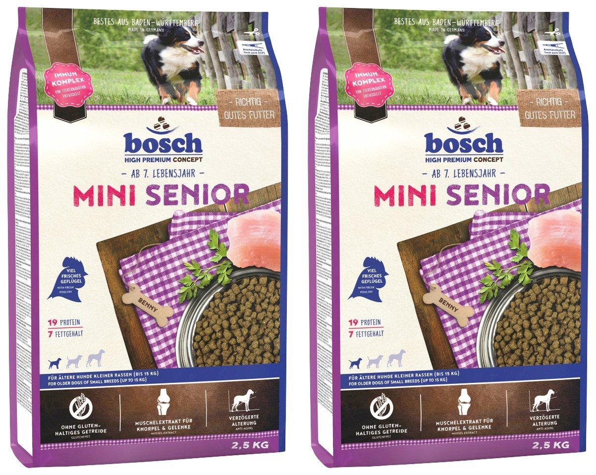 BOSCH PETFOOD Hundetrockenfutter »Mini Senior«, 2 Beutel á 2,5 kg - Preisvergleich