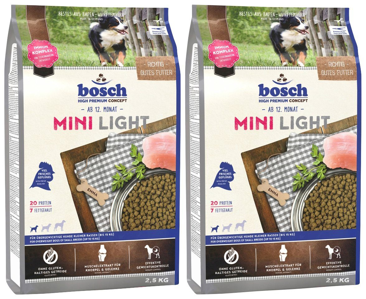 BOSCH PETFOOD Hundetrockenfutter »Mini Light«, 2 Beutel á 2,5 kg