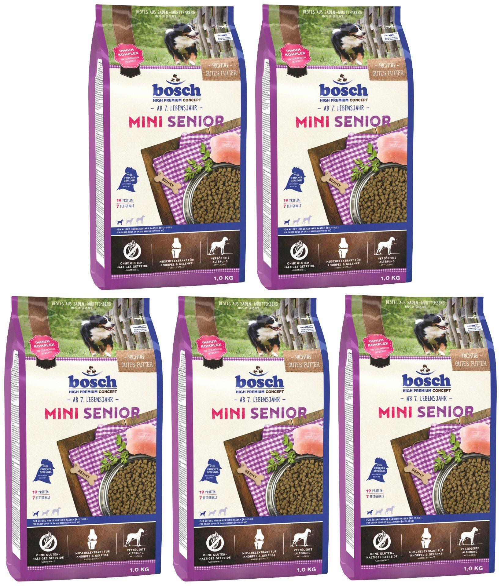 BOSCH PETFOOD Hundetrockenfutter »Mini Senior«, 5 Beutel á 1 kg