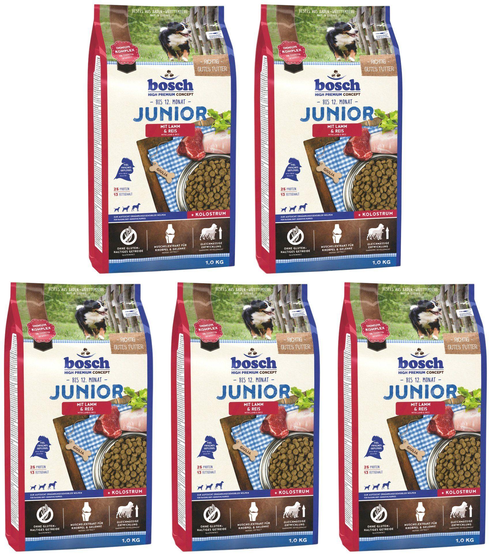 BOSCH PETFOOD Hundetrockenfutter »Junior Lamm und Reis«, 5 Beutel á 1 kg