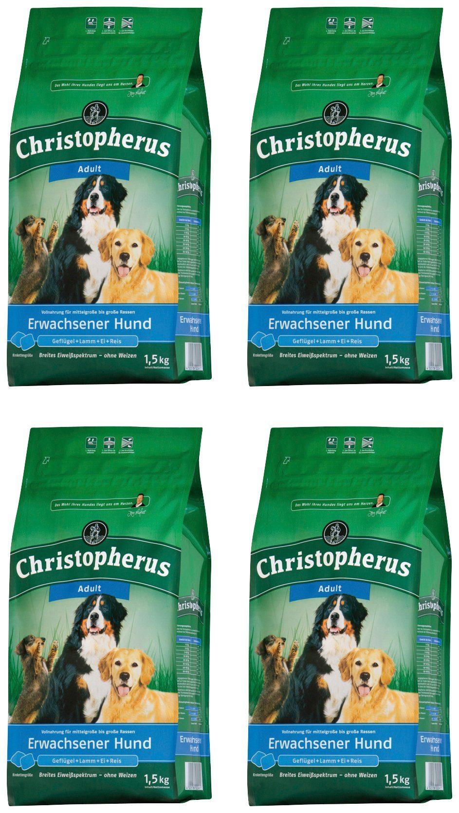 CHRISTOPHERUS Hundetrockenfutter »Adult«, 4 Beutel á 1,5 kg