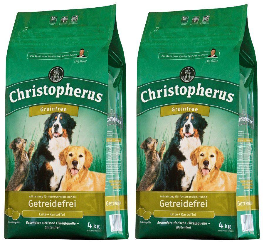 CHRISTOPHERUS Hundetrockenfutter »Getreidefrei Ente und Kartoffel«, 2 Beutel á 4 kg