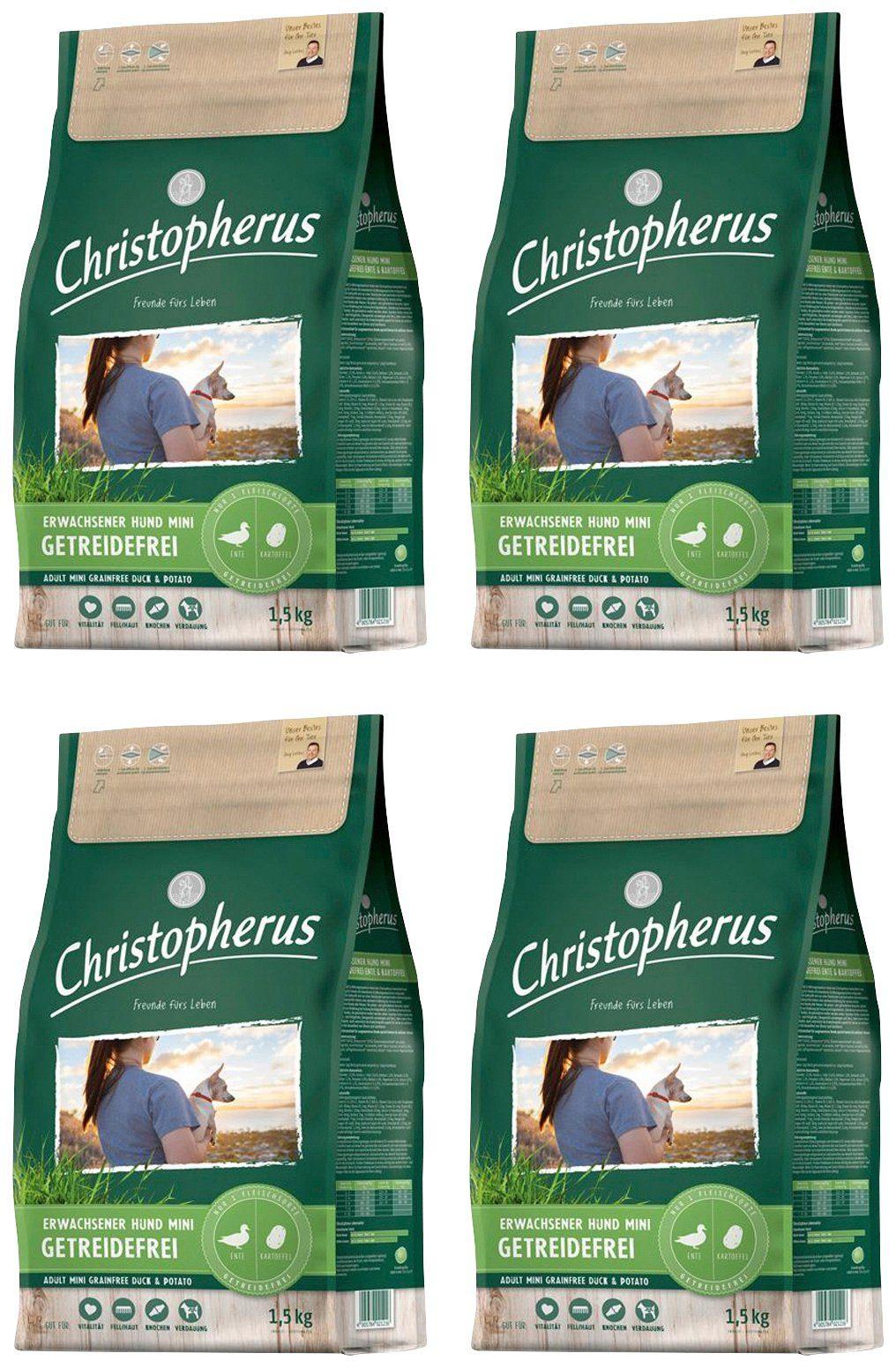 CHRISTOPHERUS Hundetrockenfutter »Getreidefrei Mini Ente und Kartoffel«, 4 Beutel á 1,5 kg