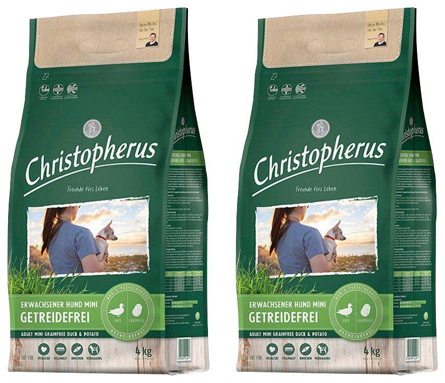 CHRISTOPHERUS Hundetrockenfutter »Getreidefrei Mini Ente und Kartoffel«, 2 Beutel á 4 kg