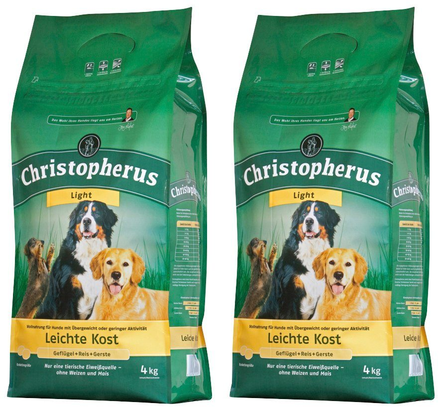 CHRISTOPHERUS Hundetrockenfutter »Leichte Kost Geflügel und Reis«, 2 Beutel á 4 kg