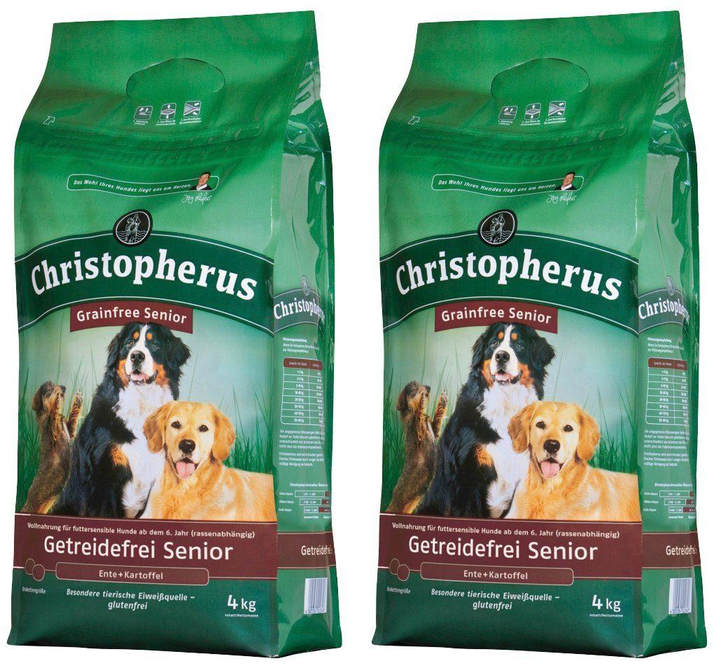 CHRISTOPHERUS Hundetrockenfutter »Getreidefrei Senior Ente und Kartoffel«, 2 Beutel á 4 kg